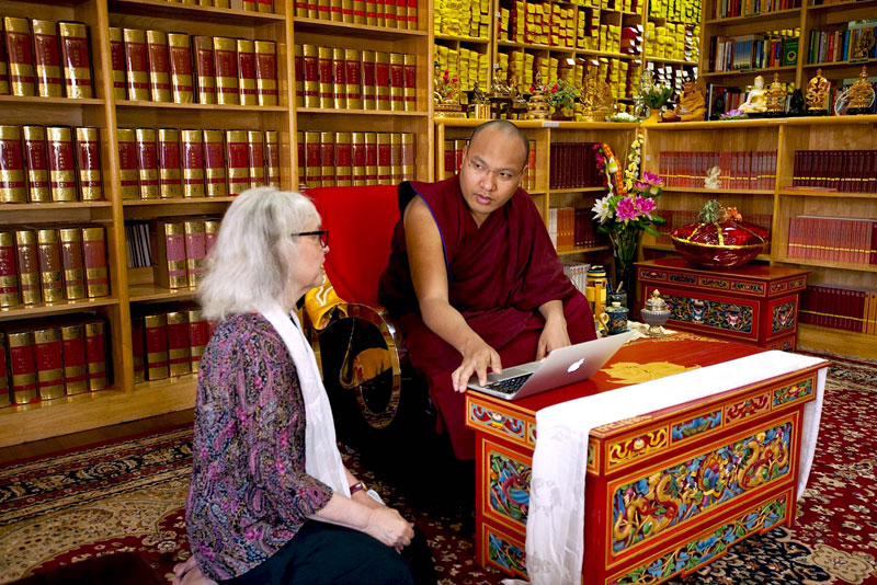His Holiness the 17th Karpama with Ann Shaftel, Director of Treasure Caretaker Training