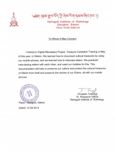 Testimonials from Sikkim 2014 in Support of Treasure Caretaker Training